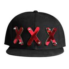 LOCOMO Men Women Black Acrylic Three Triple X Snapback Cap FFH120RED