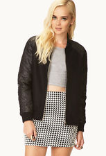 Forever 21 Black Faux Leather Quilted Wool Futuristic 84 Bomber Jacket M/L