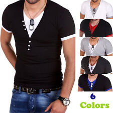 Fashion Mens T-Shirt Short Sleeve V-Neck Solid Casual Slim Fit T-shirts Tops d9