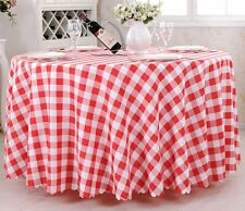 New 60''-120'' Round Polyester Check Tablecloth Table Cover for Banquet Wedding