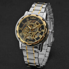 Skeleton Mens Mechanical Watches Hand Winding Up Stainless Steel Band Wristwatch