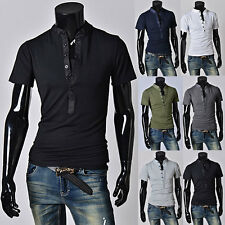Mens M-2XL Casual Henley Muscle Slim Fit Design T-shirts with Short Sleeve Tops