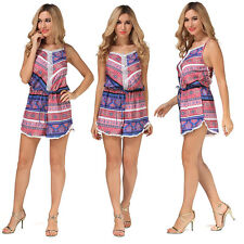 Sexy Women Floral Halter Jumpsuit Short Dress Casual Rompers Fashion Playsuit