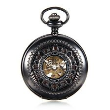 Steampunk Skeleton Black Case Roman Numerals Mechanical Hand Wind Pocket Watch