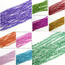 Half Plated Faceted Rondelle Crystal Glass Loose Spacer Beads 4mm 6mm 8mm 10mm