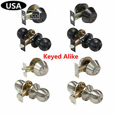 Entrance Door Knobs Single/Double Cylinder Deadbolt Keyed Alike Exterior Lockset