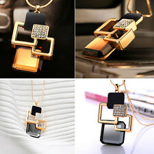 Fashion Necklace Women Jewelry Geometric Pendant Crystal Stone Hollow Golden  BH