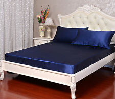 800 1000 1200 TC NavyBlue Color Satin Silk Super Soft Solid Bedding Scala Brand