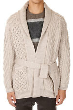 MARC JACOBS Men New Beige Cable Knit Belt Cardigan Sweater Made in Italy