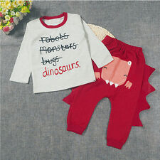 Baby Boy Girl T-shirt Top+Pants Outfit Set Toddler 2PC Dinosaur Clothes Trousers