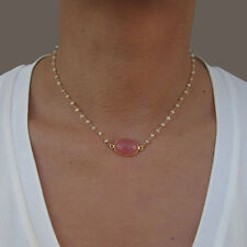 Dainty Pearl Necklace, Pink Quartz Necklace, Pearl Necklace Bridesmaid, Gift