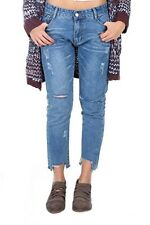 Womens Blue Denim Ripped Destroy Jeans Pants Ladies Skinny Jeans High Waisted