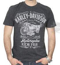 Harley-Davidson Mens Vintage Timepiece Motorcycle Charcoal Short Sleeve T-Shirt