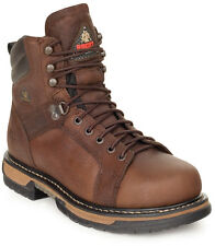 Rocky Mens Brown Leather Ironclad Waterproof Lace-to-Toe Work Boots