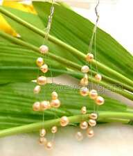 """4-6mm BAROQUE Pink Natural Pearl 4 strands 4.5"""" Starriness Dangle Earring-ea477"""
