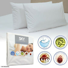 Zippered Pillow Protector Case Waterproof Breathable Terry Cotton Cover Set of 2