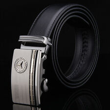 Fashion Mens Leather Belt Stylish Benz Automatic Buckle Casual Black Brown Strap