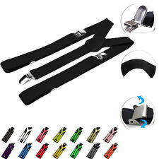 New Womens Mens Elastic Clip-on Solid Color Y-Shape Adjustable Braces Suspenders