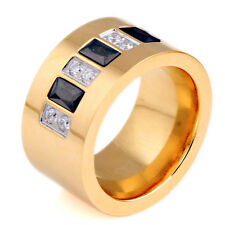 Vogue Gold 316L Stainless Steel Clear Black Zircon Crystal Ring Wedding Jewelry