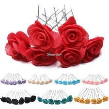 6 Rose Hair Pins Grips Flower Wedding Bridesmaid Accessories All Colours BF9