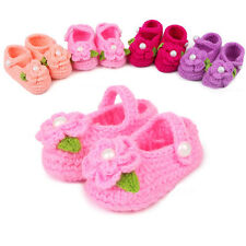 Cute Baby Girl Toddler Knitted Flower Shoes Warm Handmade Crochet Booties TOS93