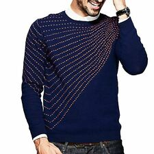 Mens Striped Print Pullover Long Sleeve Slim Round Collar Sweater 2 Colors M~2XL