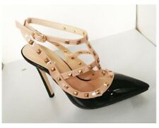 Women Pointed Toe High Heels Fashion Buckle Studded Stiletto Pumps Large Size