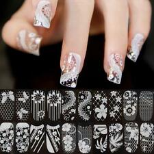 Manicure Decals Nail Art Sticker 3D Lace Crystal  White Flower Tips