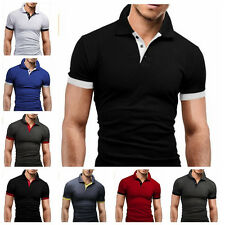 Fashion Men's Slim Fit Casual Polo Shirt Short Sleeve Shirt T-Shirt Tee Tops TM