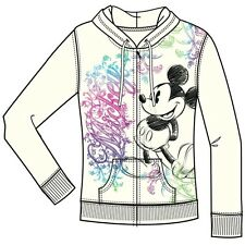 Disney Adult Junior Ornate Mickey Mouse Zip Up Hoodie Off White