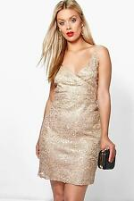 Boohoo Womens Plus Tia Lace + Sequin Wrap Top Bodycon Dress