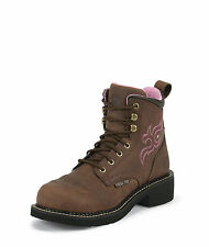 Justin Womens Bark Leather Work Boots Steel Toe Lace-Up Gypsy
