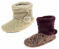 Ladies Coolers Warm Fur Lined Knitted Pom Pom Slipper Boots Sz Size 3 4 5 6 7 8