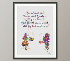 Mad Hatter and Alice in Wonderland Quote Watercolor Print Tea Time Kitchen Art 2