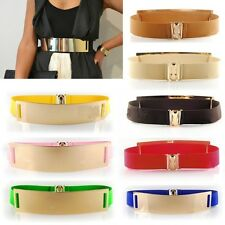 Sexy Women Leather Metal Mirror Waist Band Gold Bling Plate Wide Elastic Belt