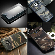 Camouflage Case Galaxy Note 4 5 8 Military Army Rugged Camo + TEMPERED GLASS
