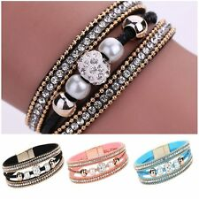Pearl Crystal Magnetic Beaded Bracelet Multilayer Bangle Leather Wristband