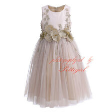 Kids Girls Applique Party Dress Formal Princess Wedding Prom Flower Girl Dresses