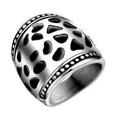 Mens Ring 316L Stainless Steel Hollow Wide Finger Ring Jewelry Wedding Banquet