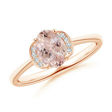 Solitaire Oval Natural Morganite Diamond Accents Ring 14k Rose Gold Size 3-13
