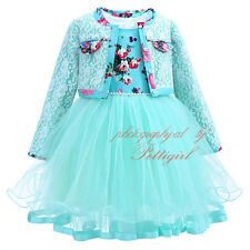 Girl Flower Tulle Dress + Lace Jacket Set Princess Formal Party Wedding Pageant