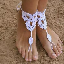 Wedding Sexy crochet Anklet Barefoot Beach Bridal Yoga Foot Jewelry Knit Sandal