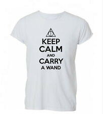 Keep Calm and Carry a Wand Potter Deathly Ladies Mens Tshirt T-shirt Womens