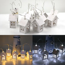 10 Cabin White LED Battery Operated Fairy Lights String Rope Happy Tree Light