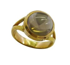 Smoky Quartz Gold Plated Ring L-1.5 elegant Brown gemstone AU K,M,O,Q