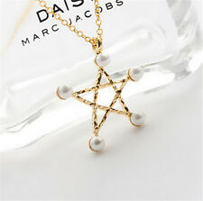 Woman Fashion Star Pearl Necklace Sweet Cute Pentagram Pearl Pendant Necklace