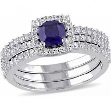 Tangelo 1-1/2 Carat T.G.W. Created Blue and White Sapphire Sterling Silver Brida