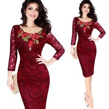 Womens Autumn Elegant Embroidery See Through Lace Party Bodycon Dres