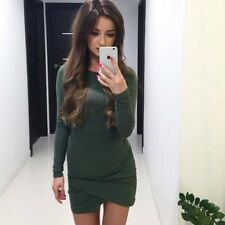 Women Sheath Fashion Casual O Neck Long Sleeved Bodycon Party Dress