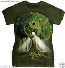 Tree of Life Yin Yang Nature T-Shirt / Ladies/Juniors Green Tie Dye Hippie Tee